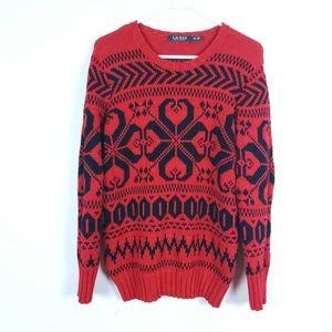 Ralph Lauren M  Red Fair Isle Pullover Sweater